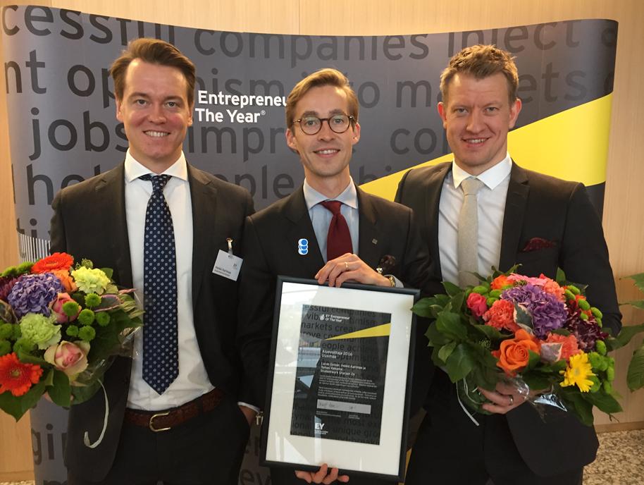 Studentworkin yrittäjäkolmikko EY Entrepreneur of the year 2016 -kilpailun voittoon